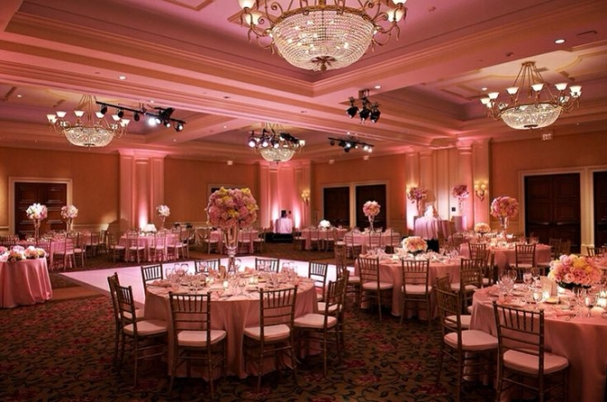 Pink color for uplighting at weddings in Boston