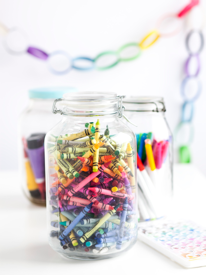 Crayons in Jars at Wedding