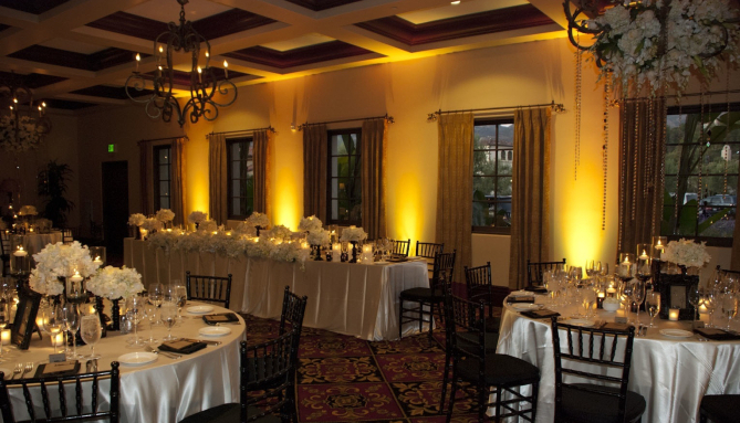 Yellow and Gold Reception Lighting for Weddings and Events